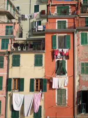 hanging clothes from windows