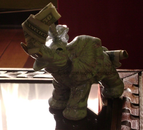 "billete amarrado para la suerte /""good luck"" elephant"