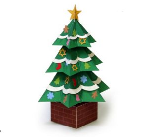 Papercraft imprimible y armable de un Árbol de Navidad / Christmas tree. Manualidades a Raudales.
